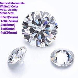 Moissanites Loose Stone Ij Color 0 .5ct -4ct Carat Moissanite Round Brilliant Cut Vvs Diamond Diy Ring Jewelry Pendant Earrings Material