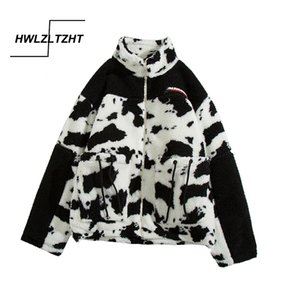HWLZLTZHT Lambswool Coats For Women Cow Imprimir Jacket Streetwear Zipper Casual Quente Brasão Outono Inverno Harajuku Feminino 201014