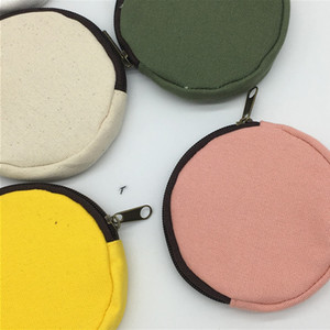 DIY Blank Round Canvas Zipper Pouches Cotton Kawaii Coin Purses Pencil Cases Pencil Bags 8 Colors HHB2422