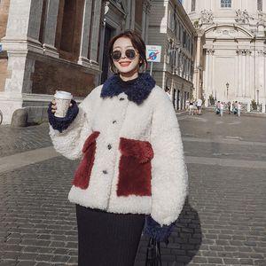 2020 Herbst-Winter-weibliche Jacke New lose verdickte beiläufige Kontras Lamb Haar All-Match Wool Short Frauen-Mantel A89