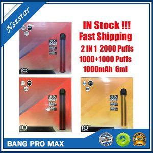 New Bang XXL Pro Max Switch Kit de dispositivo desechable VAPE 2 IN 1 6ML PAODS 2000 Puffs 1100mAh Batería XXTRA Double Pen para Puff Flex Ezzy Super