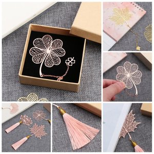 1 Pc Chinese Style Metal Bookmark Creative Leaf Vein Rose Gold Hollow Fringed Apricot Leaf Bookmark Meaningful Gifts