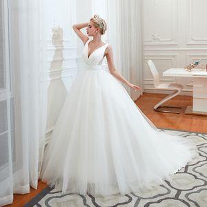 Vestido de bola Jiayigong magnífica de la boda vestidos sencillos con cuello en V tren de barrido elegante más tamaño Vestido de Noiva vestido de novia Q1113