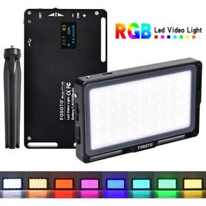 FOSOTO RGB Led Video Light Mini фотография Light 2500K-8500K Диммируемый Полноцветный освещения студии Заливка с OLED-экран