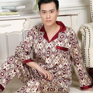 Pigiami di seta imitati a maniche lunghe di fascia alta Pigiama da uomo Pantaloni da uomo Sottile Ghiaccio Ice Silk Suit Sleepwear Uomo Pigiama Set Pigiama Hombre T200813