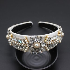 Baroque Colorful Headband Full Pearl White Catwalk Hair Accessories Leaves Geometric Simple Headband Accessories 883 Y19051302