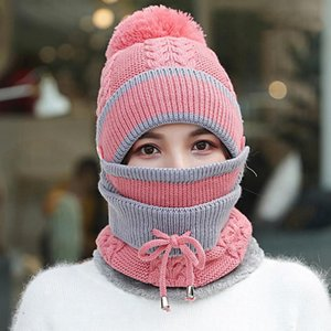 Womens Knitted Beanie Hat Collar Scarf Set Outdoor Ski Sports Winter Soft Warm Headwear With Mouthcover Knitting Neckcover 2 pcs Set LJJP641