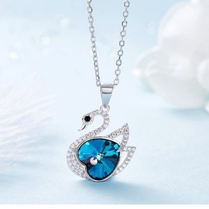 Crystals Pendant From Austrian S925 Sterling Silver Necklace Women's Swan Necklaces Jewelry Gifts for Girl Love Heart