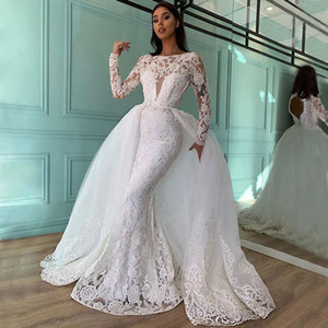 Graceful Beaded Mermaid Lace Wedding Dresses With Detachable Train Bateau Neck Long Sleeves Backless Bridal Gowns Sequined robe de mariée