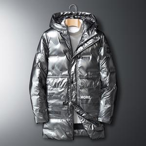 Hommes Hiver Long Veste À Capuche Black and Silver Couleur Softshell Manteau d'hiver Down Veste Veste Veste Sportwear Outfit Tenue à capuchon-2