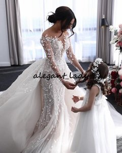 long Wedding Dresses With Removable Train illusion Long Sleeves Lace Beads Crystal O Neck Bridal Dresses Robe De Mariee Real Video