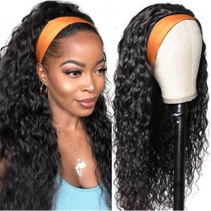 band wigs 100% HumanHair Grip Headband Scarf Wig Water Wave Human Hair Wig No plucking wigs for Women No Glue No Sew In