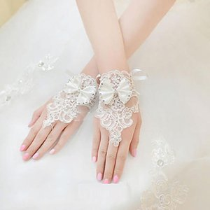Gift Bowknot Christmas Drill Lace Floral Fingerless Brides Wedding Decoration Women Gloves