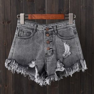 SHUJIN 2020 Women Sexy Tassel Hole Shorts Jeans Denim Short Pants WomenS Denim Shorts Pantalones Cortos Mujer
