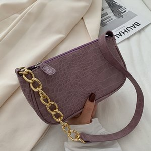Crocodile Pattern Baguette Women Bag Fashion Luxury Shoulder Bags Chain Portable Small Handbags 2020 New Design Armpit Bag