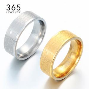 Heißes Verkaufs-Gold Titan 100% Edelstahl-Gebet-Finger-Ring Jesus Bibel Brief Vaterunsers Kreuz-Ring für Männer Frauen Belief