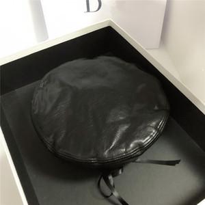 Moda de luxo designer de boina de couro retro feminino chapéu preto selvagem temperamento quente maré chapéu octagonal