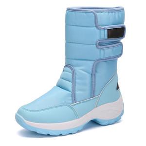 BLWBYL extérieur Femme Bottes hiver Augmenter la chaleur Chaussures de neige Femmes de fourrure en peluche semelle intérieure Mesdames haut Bottines Weatherproof marche
