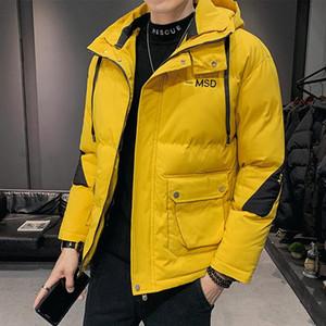 Anbican Mode Gelb mit Kapuze Windjacke Herren Winter Parka Jacke Streetwear Casual Warme Mantel Dicke Parkas