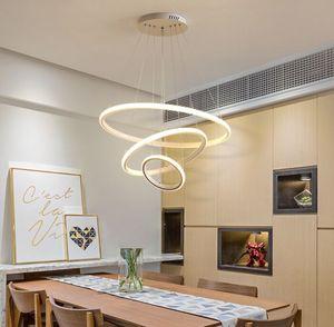 Modern Pendant lamp Led 3 4 5 Rings Circle Ceiling Hanging Chandelier Black Loft Living Dining Room Kitchen Lighting Fixture