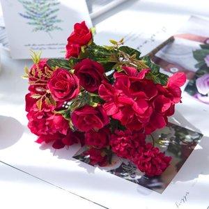 1 bouquet 7 fourchettes artificielles Hydrangea Hydrangea Accessoires Accessoires Soie Fleur De Soie Diy Decoration De Mariage Meubles de salon1