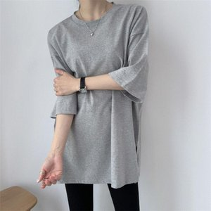 HziriP Minimalist Gentle Leisure Split 2020 Cotton Solid All Match Chic Loose Basic Tops Short Sleeves Casual Plus Size T-Shirts