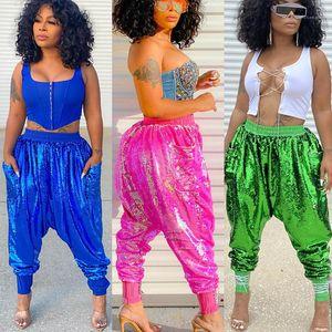 Pants Sequins Solid Color Fashion Loose Sport Casual Long Trousers 2021 New Arrivals Womens Designer Harem