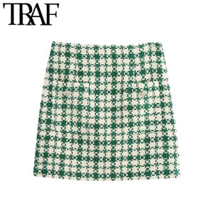 Traf Frauen Mode mit Taschen Tweed Minirock Vintage Hohe Taille Zurück Reißverschluss Weibliche Röcke Mujer