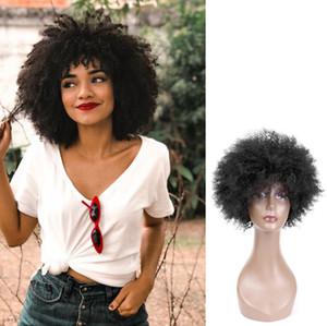 8 polegadas afro crespo encaracolado cabelo humano sem capa Perucas perruques de cheveux humains Curto Bobo Perucas peruca Q09520