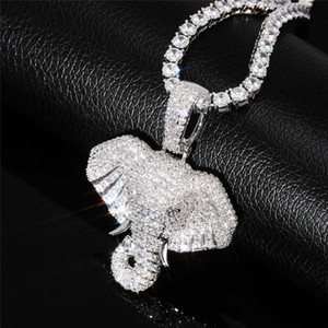 Iced Out Elephant Necklace & Pendant With Chain Cubic Zircon Necklace Animal Jewelry Fashion Men Women Gift Y200918