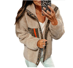 Cappotto invernale con pannelli da donna moda collo lepal collo da donna manica lunga manica peluche leopard designer stampato abbigliamento da donna
