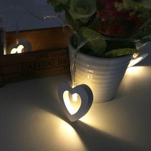 Led Ahşap Sanatı Kalp Aşk Kalp Şekli Lambası Dize Kore Stil Kapalı Noel Dekorasyon Küçük Renkli Işıklar 10 Lamba Pil Kutusu Dize Lam