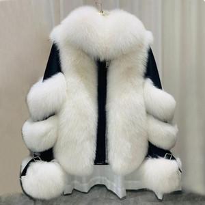 ZDFURS * 2020 neue Frauen reale Pelz-Mantel echte Schaffell-Lederjacke Langarm Naturpelz abnehmbare Kragen