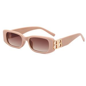 Bb8189 Óculos de sol popular forma quadrada retro mulheres moda óculos de sol lentes clássico metal b popular estilo goggle qualidade superior uv 400
