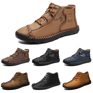 2021 High top leather shoes mens casual shoes color light dark brown black blue mens trainers sports sneakers online size 39-45