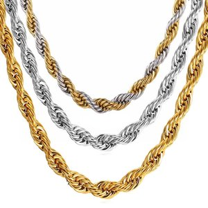 wholesale 10pcs lot men's chain necklaces silver golden plated stainless steel necklace punk style Jewelry brand new dropshipping