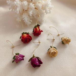 Ретро ручной работы вечные розовые высушенные реальные цветочные серьги Новый дизайн мода ювелирные изделия для женщин натуральная роза лепесток серьги 2020