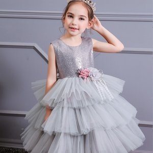 2020 New Children's clothing little girl dress European style 110-160cm flower girl gray dress princess dress