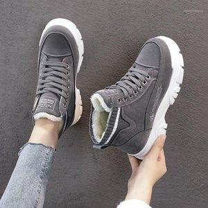 Дамы повседневные туфли на шнуровке модные кроссовки платформы снежные ботинки зимние женщины сапоги теплые плюшевые женские туфли Zapatos de mujer1