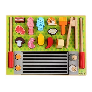 Children's wooden simulation kitchen play house ice cream fruit shop barbecue set cognitive cut cash register educational toys LJ201211