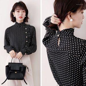 Chiffon Shirt 2020 Autumn Winter Women's New Fashion Stand Neck Long Sleeve Large Size Ruffle Dot Print Blouse Tops S-4XL P3771