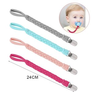 Braided Cotton Rope Nipple Holder Baby Pacifier Clips Chain Metal Clips Nipple Holder Soother Chain for Infant Kids