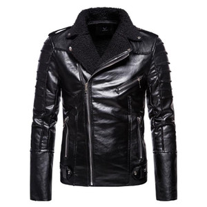 2020 Winter New High Quality Men's Solid-color Lapel Zipper Pocket Motorcycle Slim Thick Fleece Warm Men's Leather Jacket