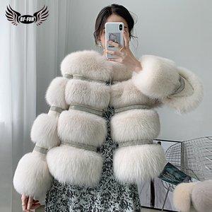 BFFUR Winter New Real Fox Fur Coat Women Genuine Fox Fur Jacket Splicing Cashmere Woolen Fur Coats With Crystal Diamonds 201030