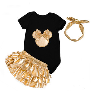 Baby Girl Clothes 3pcs Clothing Sets Black Cotton Rompers Golden Ruffle Bloomers Shorts Shoes Headband Newborn Clothes