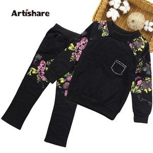 Artishare filles vêtements automne hiver sport tenues pour filles fleuries imprimées adolescentes enfants vêtements 8 10 12 14 ans y200325