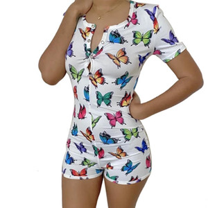 Nightwear Playsuit Workout Button Skinny hot Print sleeve Jumpsuits V-neck short Onesies Women Plus Size Rompers