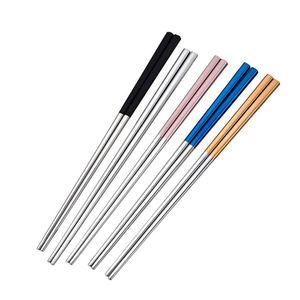 Aço Inoxidável Chopsticks metal varas da costeleta Louça Prata Multicolor Louça casamento Festival Party Supplies 4 cores AHB2238