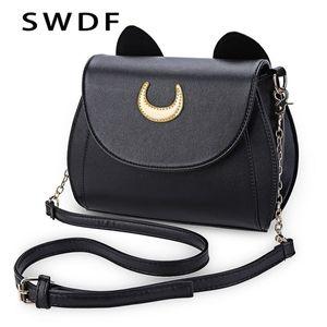 SWDF Summer Summer Sailor Moon Ladies Borsa Black Luna Cat Shape a forma di catena PU in pelle PU in pelle Messenger Crossbody Small Bag Q1104