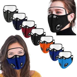 2 em 1 Máscara malha Dustproof com máscaras Unisex Capa de proteção viseira tampa transparente Ciclismo Sports Anti-Smog Adulto protectora protetora